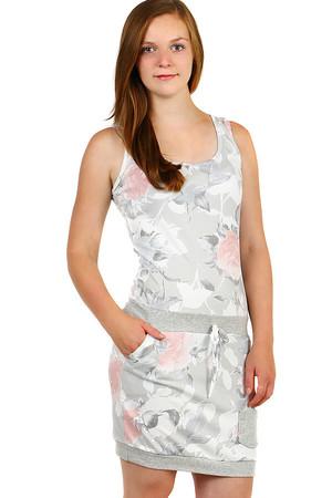 789ed3c81a56 Sivé bavlnené šaty kvetované pre plnoštíhle výpredaj
