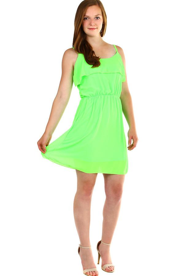 Dámske krátke šifónové šaty s volánmi  b8fcbdd45ec