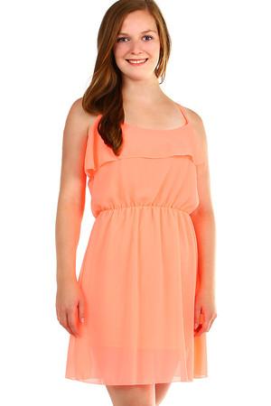 Luxusné dámske krátke oranžové šaty jednofarebné xs  b1b4a6994c6
