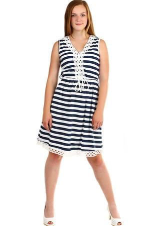 fdf453375dee Luxusné dámske šaty pruhované bez rukávov