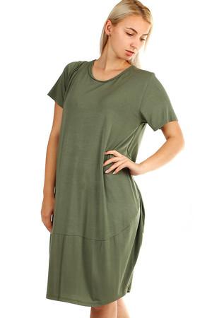 Lacné krátke zelené šaty jednofarebné l  74527072859