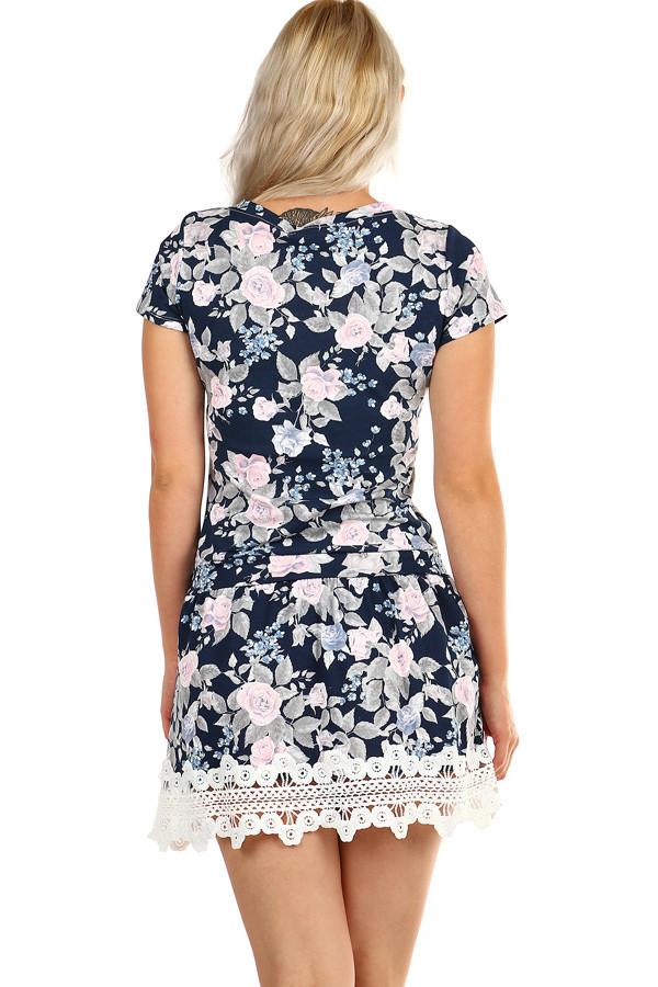 e28948780b5c Letné krátke šaty s kvetovanou potlačou a krajkou. Previous