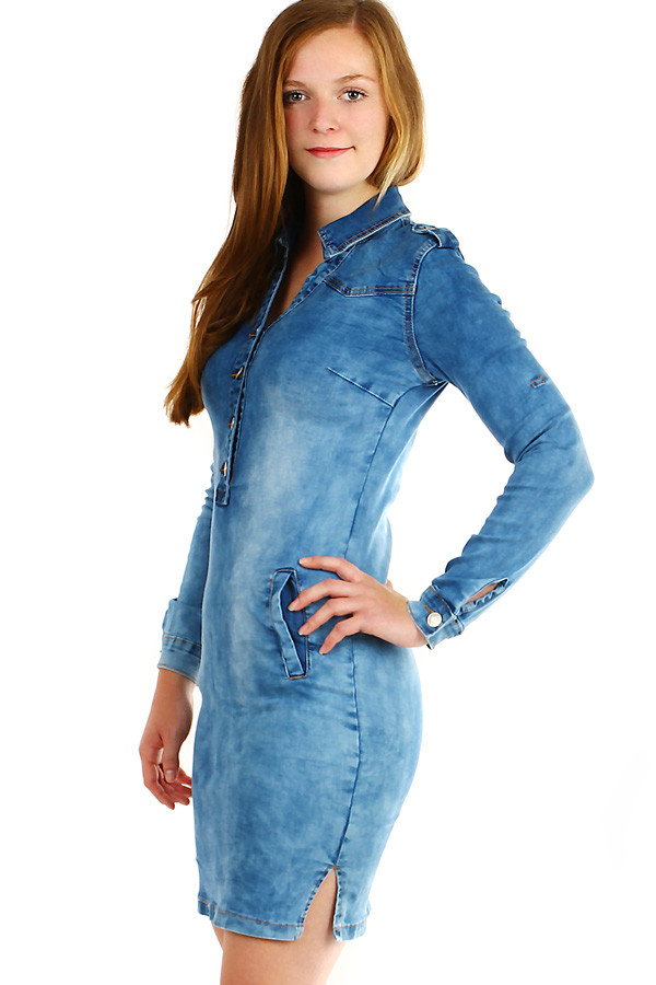 Riflové šaty s dlhým rukávom  048bfb2fb3