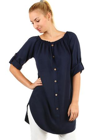 Dámske voľné košeľové šaty s 3 4 rukávom 0df8c6af4ae