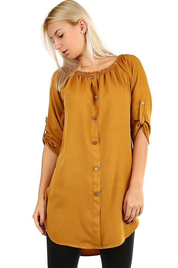 1e9e3ebf3d Dámske voľné košeľové šaty s 3 4 rukávom