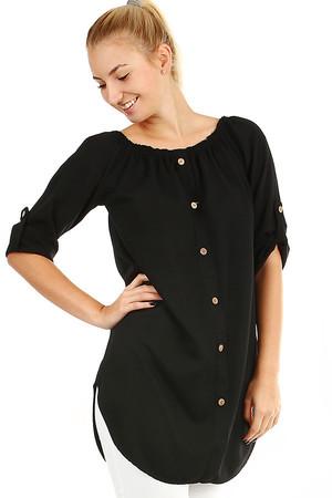 aa9fab082ea4 Dámske voľné košeľové šaty s 3 4 rukávom