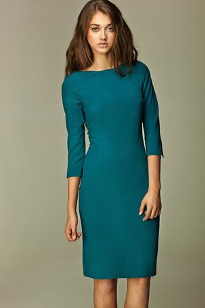 bf7955d09cba Luxusné midi modré šaty s trojštvrťovým rukávom