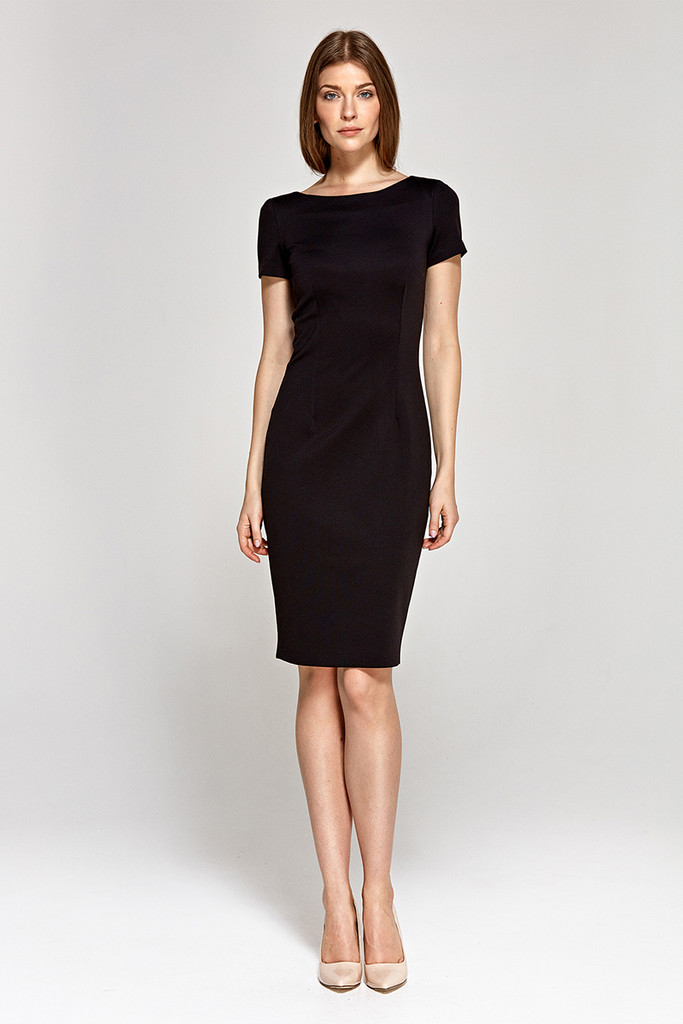 Priliehavé puzdrové šaty ku kolenám  c99830741d1