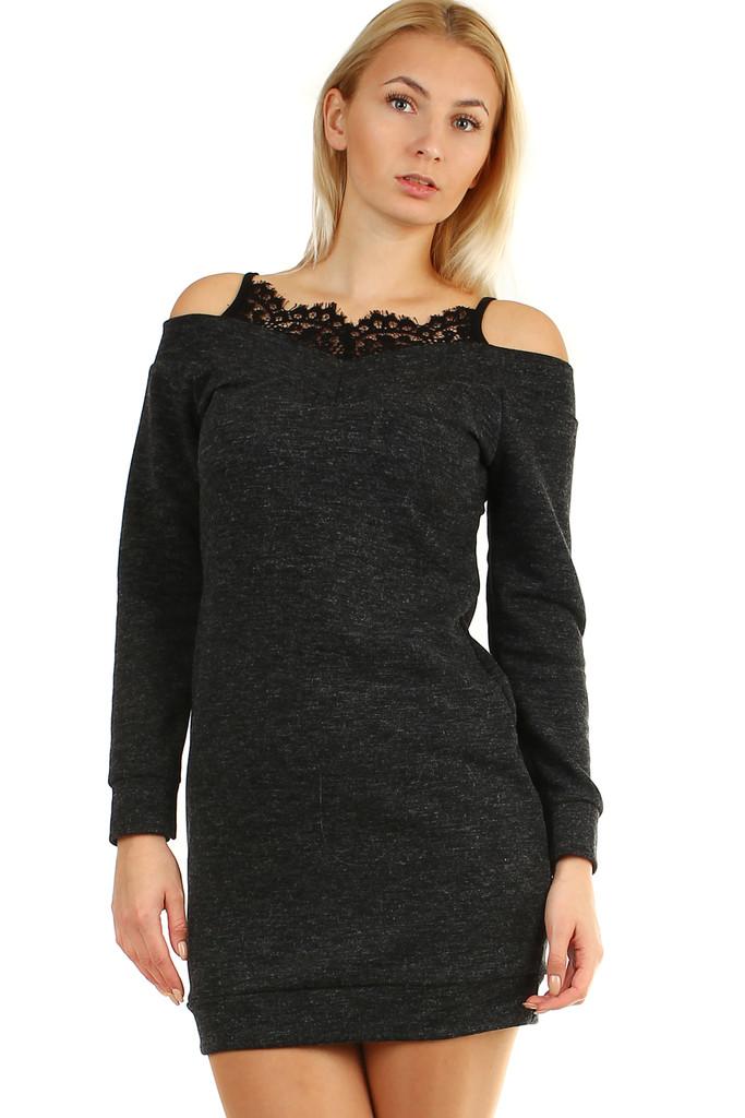 9abdab84181d Krátke úpletové dámske šaty s čipkou a dlhým rukávom