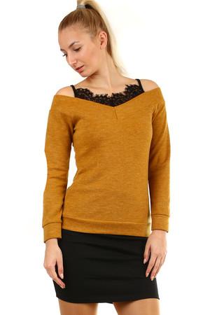 00dd61b8375c Lacné žlté tričká s dlhým rukávom s odhalenými ramenami m