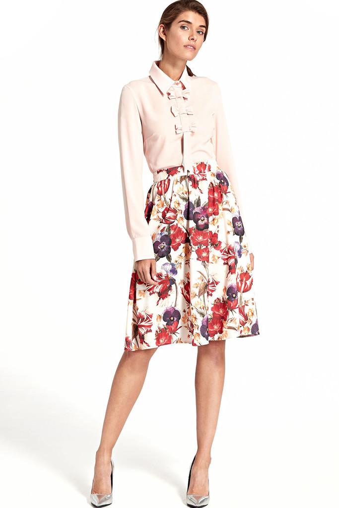 1e64f25fe1c0 Polkruhová sukňa s kvetinovou potlačou