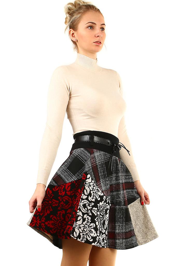 a1d007684f3b Áčková zimná károvaná sukňa