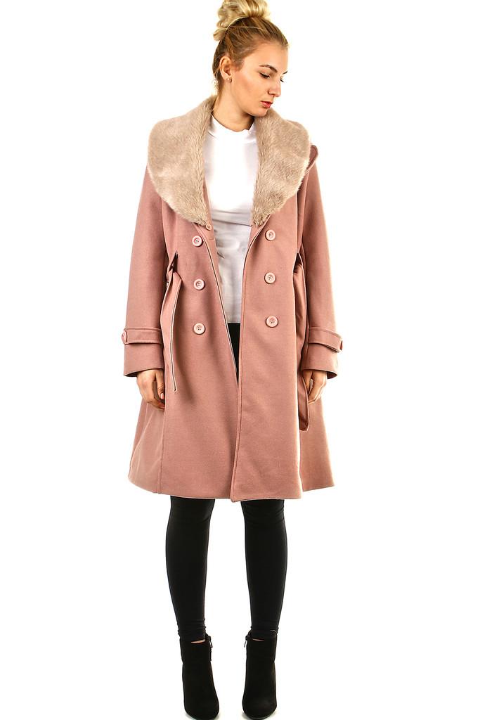Flaušový dámsky kabát  e6fa10eb1b6