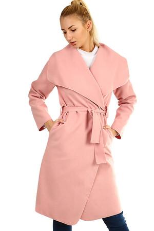 Elegantný dámsky kabát s opaskom aacb3ad6156