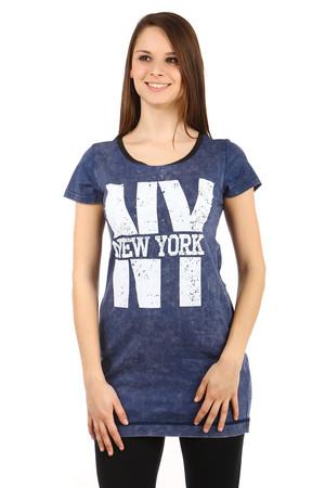 Bavlnené dámske predĺžené tričko New York 86db021e430