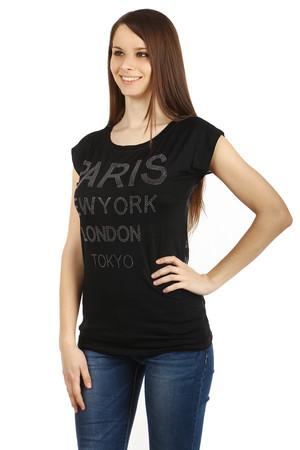 726a25072f31 Lacné krátke čierne bavlnené elegantné tričká s nápisom s krátkym ...