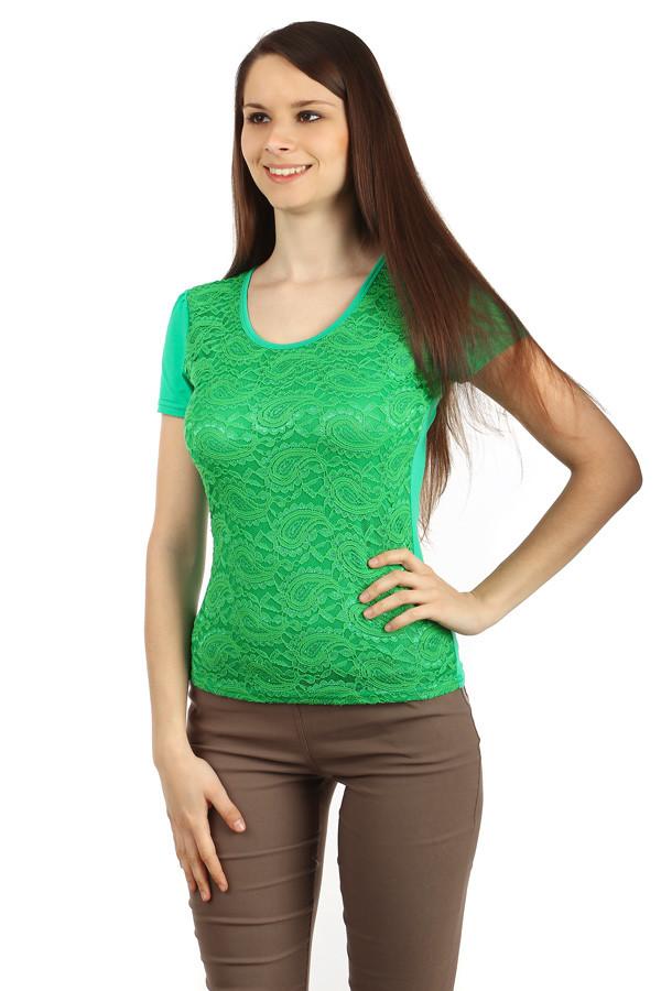 aed2aa66ad84 Elegantné dámske čipkované tričko s krátkym rukávom