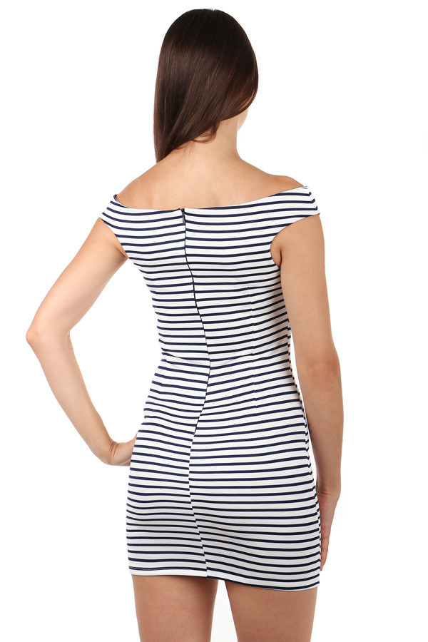 a4cdcab36 Krátke dámske námornícke šaty s pásikmi | Glara.sk