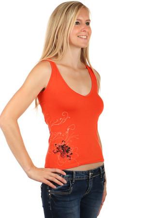 413c21b2ec97 Lacné dámske oranžové športové tielka kvetované