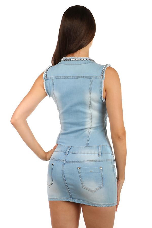 Krátke dámske džínsové šaty so širokými ramienkami  3b3af4ccb94