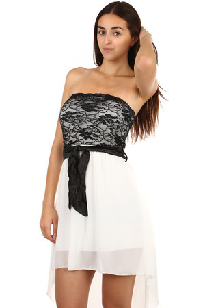 9809a4897a6c Lacné dámske krátke biele šaty s čipkou xl