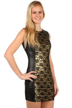 Krátke čierno-zlaté dámske šaty bez rukávov 1573f5e98d1