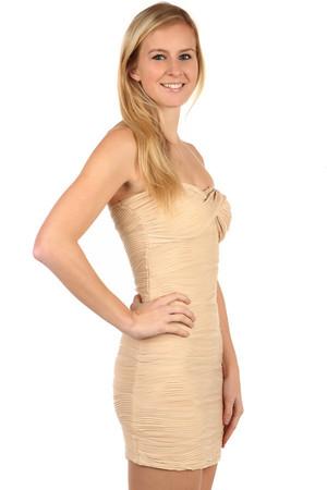 Lacné krátke hnedé šaty bez rukávov l  03e08c8b370
